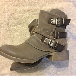Grey blowfish ankle booties with buckles size 7